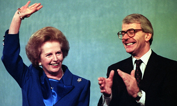 Margaret Thatcher and John Major in 1991